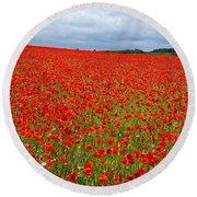 Nottinghamshire Poppy Field Round Beach Towel