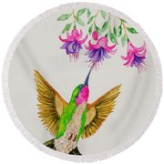 Round Beach Towel featuring the painting Nourishment  by Katherine Young-Beck