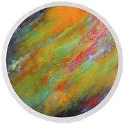 Nova Brillante. Abstract Acrylic Painting. Round Beach Towel