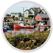 Round Beach Towel featuring the photograph Nova Scotia Fishing Community by Jerry Battle