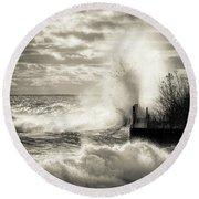 November Gales Bw Round Beach Towel