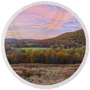 November Glowing Sky Round Beach Towel