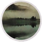 November Lake Round Beach Towel