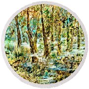 Round Beach Towel featuring the painting November Morn by Alfred Motzer