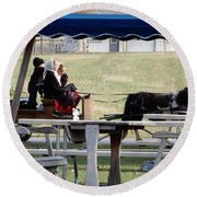 November Pony Cart Fun Round Beach Towel