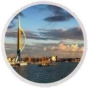 November - Portsmouth Harbour Round Beach Towel by Shirley Mitchell