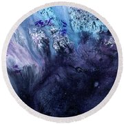 November Rain - Contemporary Blue Abstract Painting Round Beach Towel