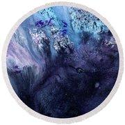 November Rain - Contemporary Blue Abstract Painting Round Beach Towel