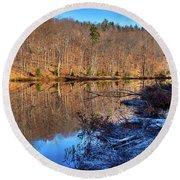 November Reflections - Bald Mountain Pond Round Beach Towel