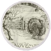 November   Vintage Thanksgiving Card Round Beach Towel