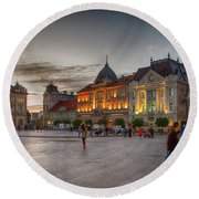 Novi Sad Liberty Square At Twilight Round Beach Towel by Jivko Nakev