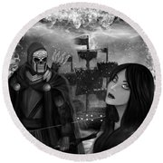 Now Or Never - Black And White Fantasy Art Round Beach Towel