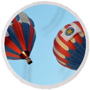 Round Beach Towel featuring the photograph Now Swing Right by AJ Schibig