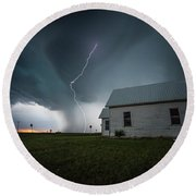 Round Beach Towel featuring the photograph Nowhere To Run by Aaron J Groen