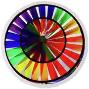 Round Beach Towel featuring the photograph noWind wheel by Luc Van de Steeg