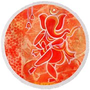 Nritya Ganesha- Dancing God Round Beach Towel