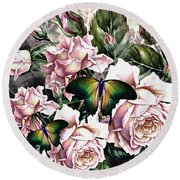 Roses And Butterflies 02 Round Beach Towel