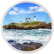 Nubble Light 1x2 Round Beach Towel