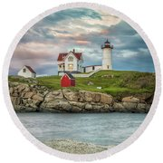 Nubble Light Round Beach Towel by Brian Caldwell