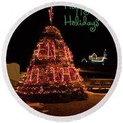 Nubble Light - Happy Holidays Round Beach Towel