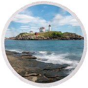 Nubble Light IIi Round Beach Towel
