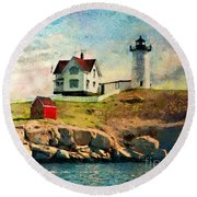 Nubble Light - Painted Round Beach Towel