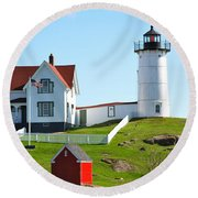 Nubble Lighthouse Round Beach Towel by Eric Tressler