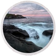Nubble Lighthouse Of Maine Round Beach Towel