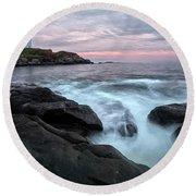 Nubble Lighthouse Of Maine Round Beach Towel