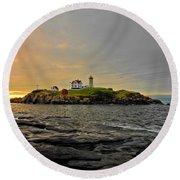 Nubble Lighthouse Round Beach Towel