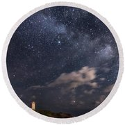 Nubble Lighthouse Under The Milky Way Round Beach Towel