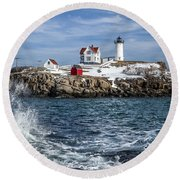 Nubble Lighthouse Winter Round Beach Towel