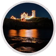 Round Beach Towel featuring the photograph nubble Lighthouse, York Maine by Jeff Folger