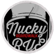 Nucky Thompson Boardwalk Rye Whiskey Tee Round Beach Towel