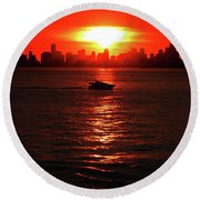 Nuclear Miami Sunset Round Beach Towel