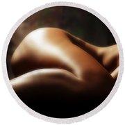 Nude 1 Round Beach Towel by Anthony Jones