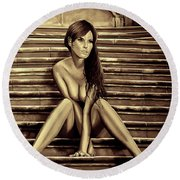Nude City Beauty Sepia Round Beach Towel
