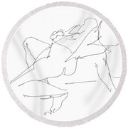 Nude-female-drawing-17 Round Beach Towel