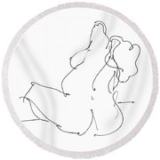 Nude-female-drawings-20 Round Beach Towel