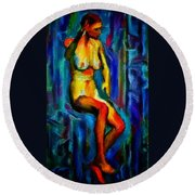 Nude Female Figure Portrait Artwork Painting In Blue Vibrant Rainbow Colors And Styles Warm Style Undersea Adventure In Blue Mythology Siren Women And Not Sensual Round Beach Towel