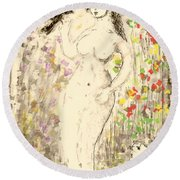 Nude Female With Bird Round Beach Towel