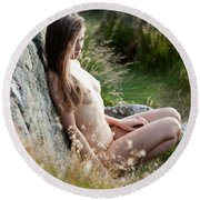 Nude Girl In The Nature Round Beach Towel