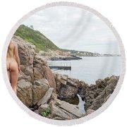 Nude Girl On Rocks Round Beach Towel