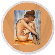 Nude In The Rain Round Beach Towel