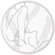 Nude-male-drawing-12 Round Beach Towel