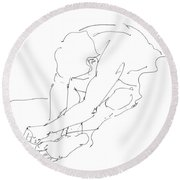 Nude Male Drawings 8 Round Beach Towel