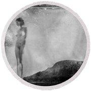 Nude On The Fence, Galisteo Round Beach Towel