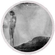 Nude On The Fence, Galisteo Round Beach Towel