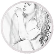 Nude Sketch Round Beach Towel