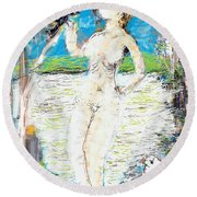 Nude With Bird Round Beach Towel